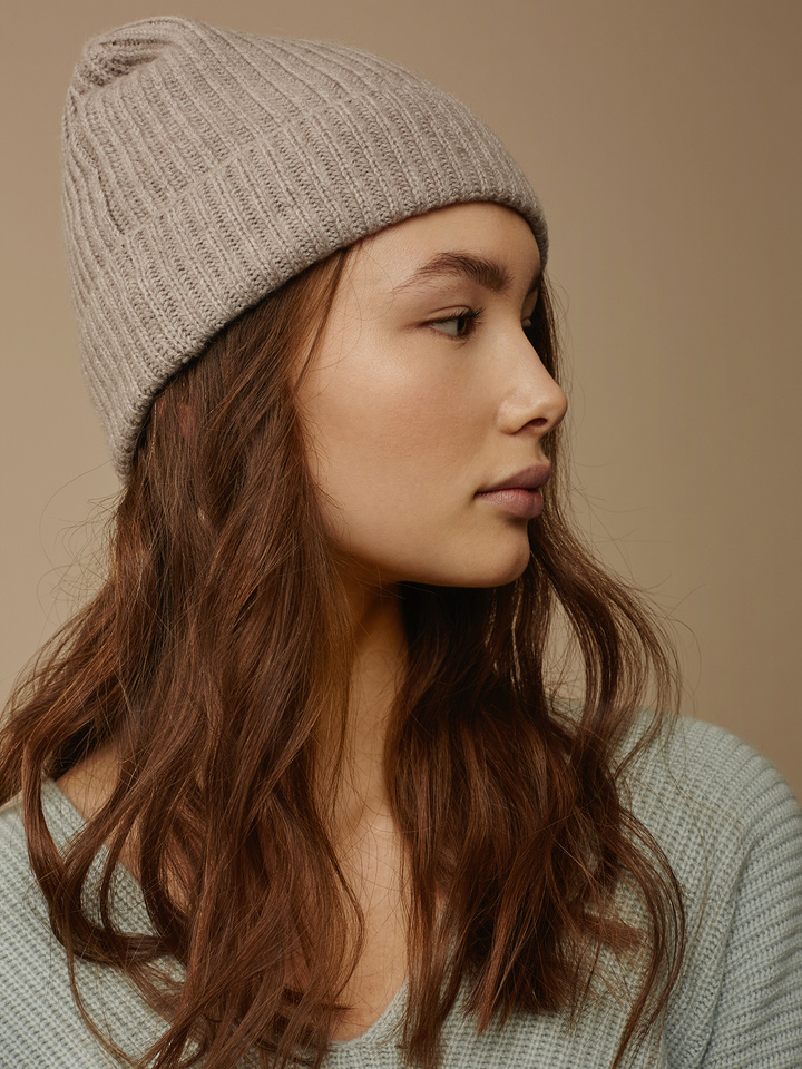 7b6840dd8c0 Soft Goat Ribbed Beanie Light Taupe Soft Goat Ribbed Beanie Light Taupe