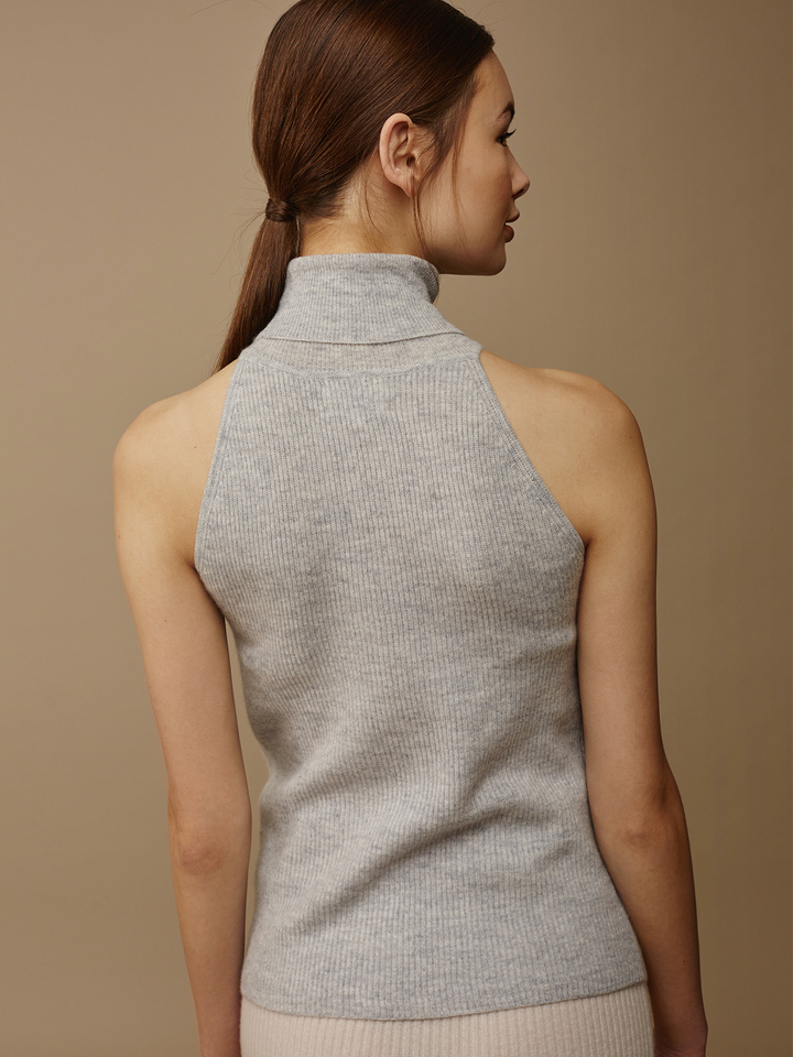Soft Goat Turtle Neck Singlet Light Grey
