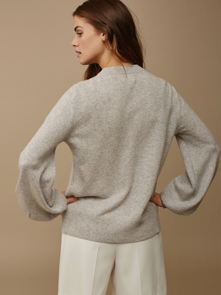 Soft Goat Women's Balloon Arm Sweater Light Grey