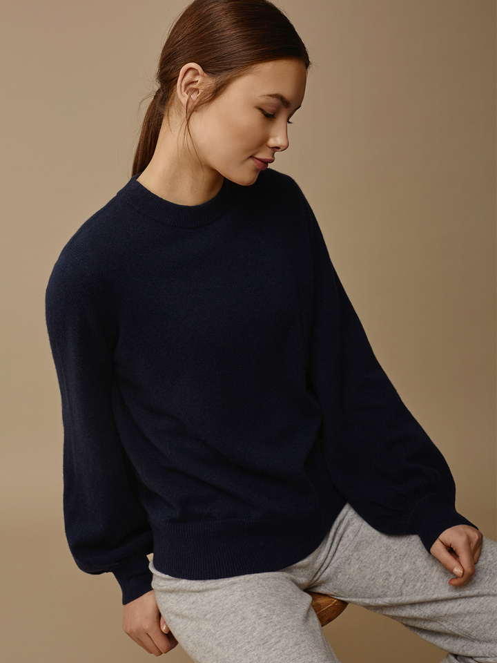 Soft Goat Women's Balloon Arm Sweater Navy