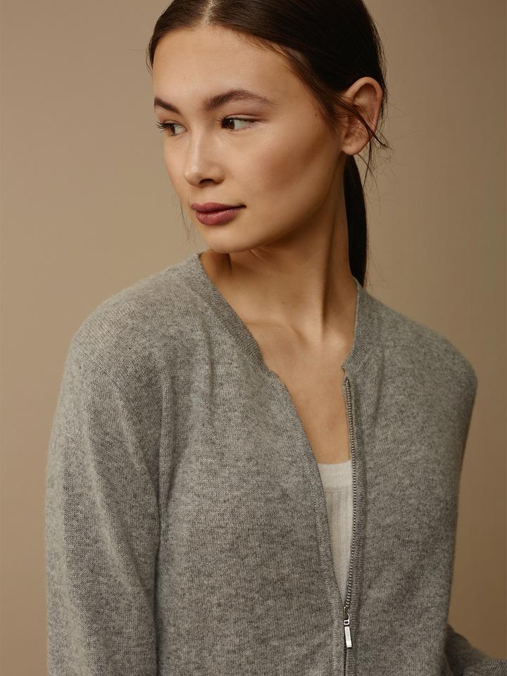 Soft Goat Women's Bomber Sweater Grey
