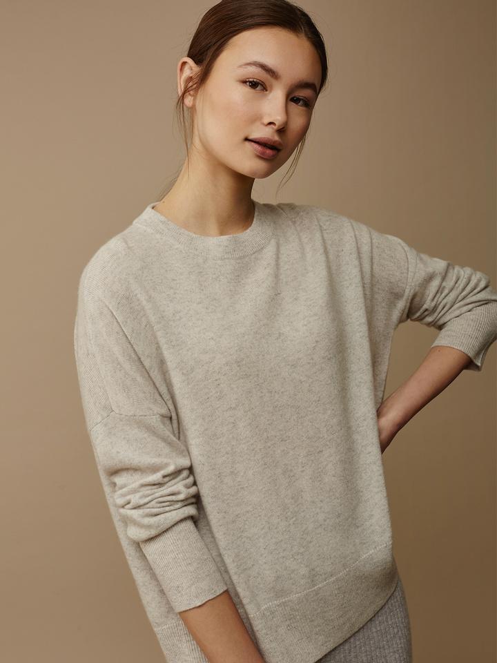 Soft Goat Women's Boyfriend Sweater Marble Grey