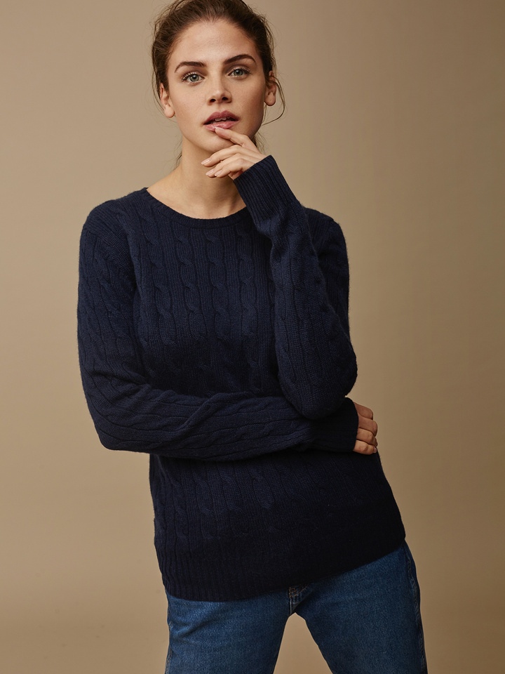 Soft Goat Women's Cable Knit Navy
