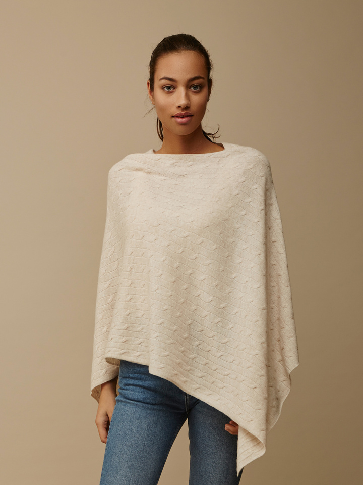 Soft Goat Women's Cable Knit Poncho Beige