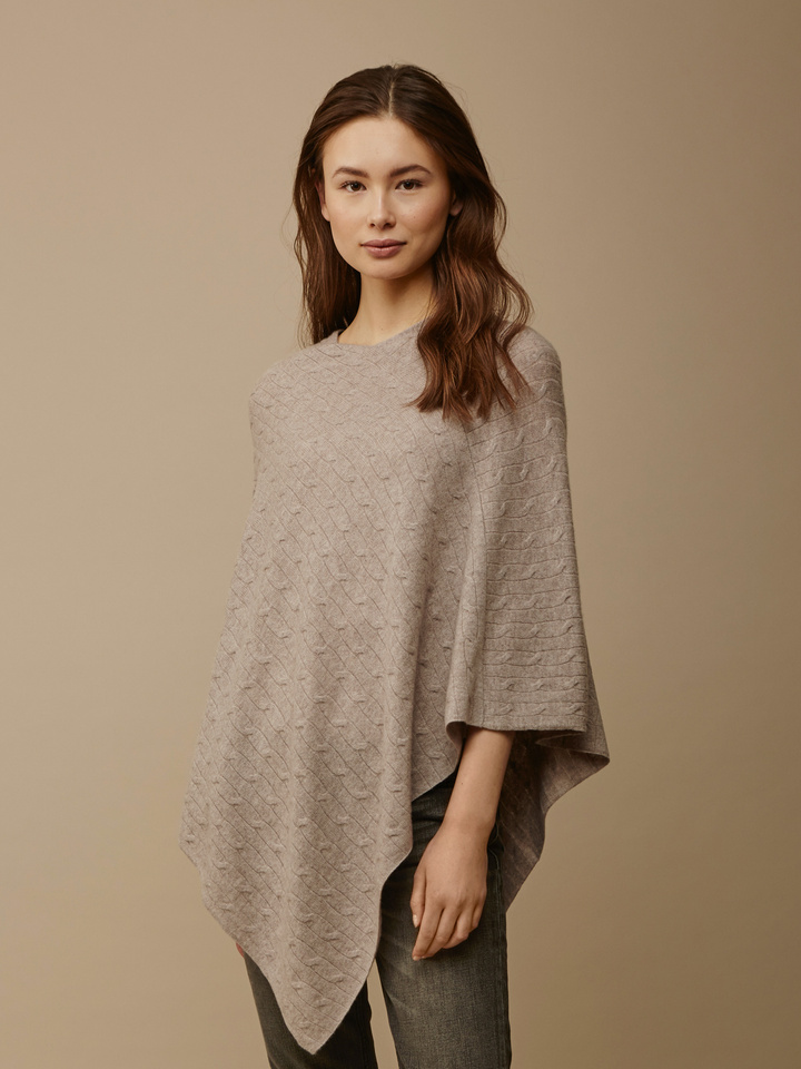Soft Goat Women's Cable Knit Poncho Light Taupe