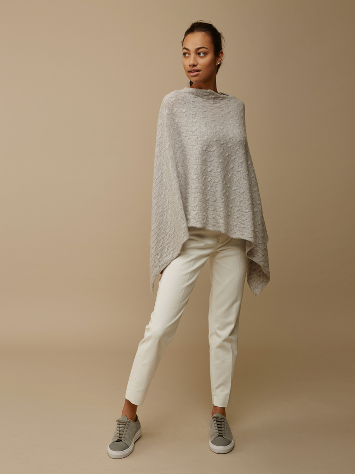 Soft Goat Women's Cable Knit Poncho Light Grey