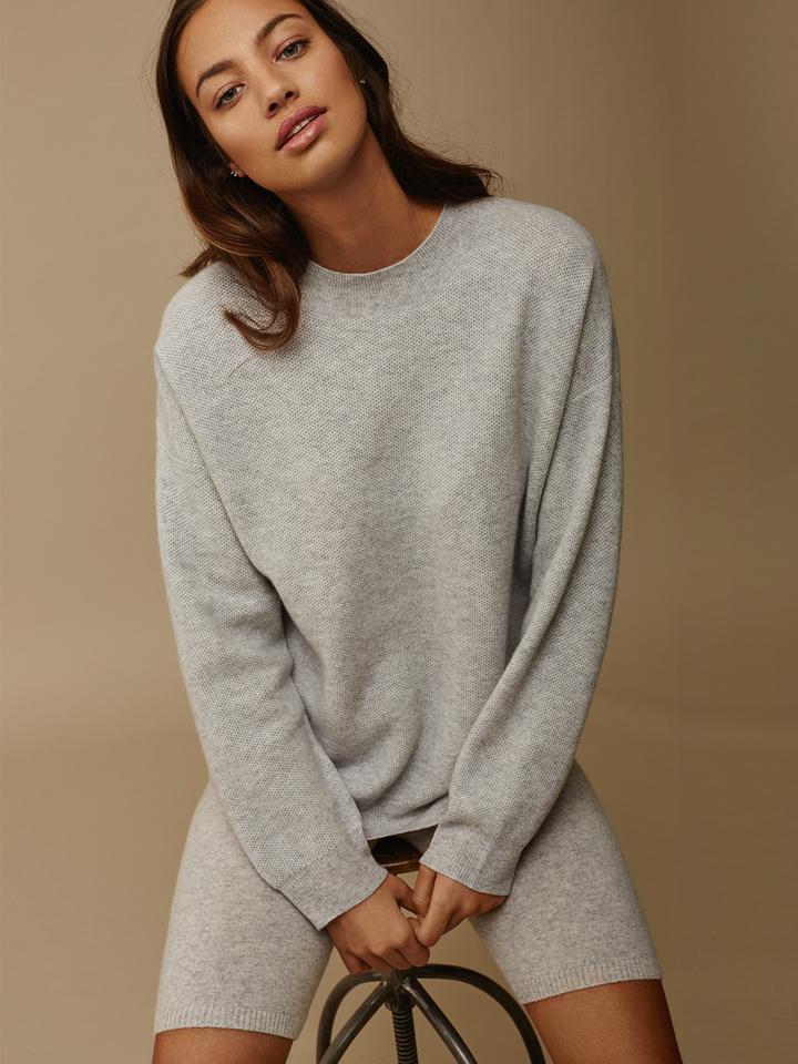 Soft Goat Women's Chunky Knit Waffle Light Grey