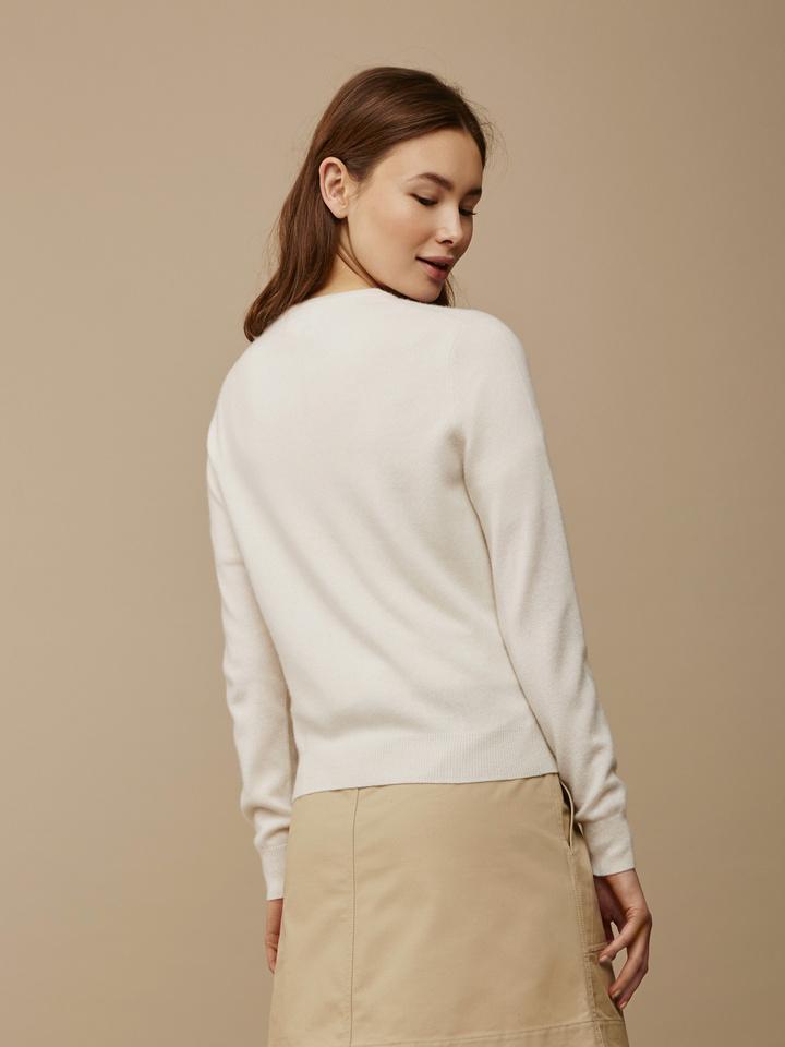 Soft Goat Women's Classic Cardigan Off White