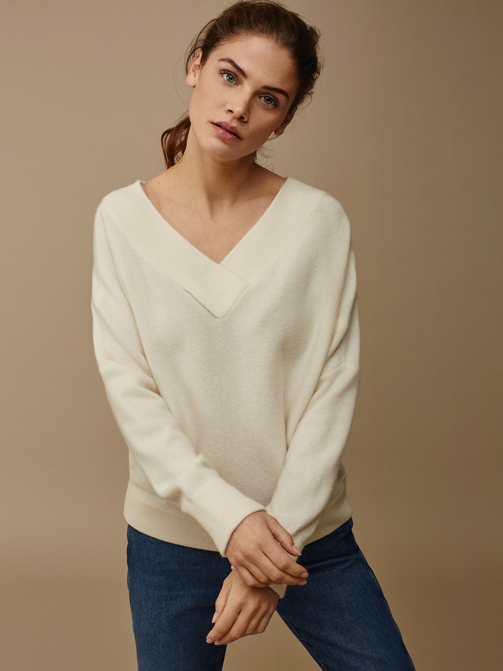 Soft Goat Women's Double V-Neck Sweater Off White